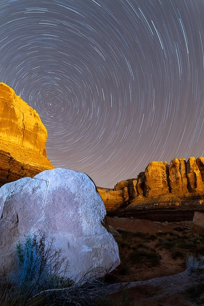 Spiral Petroglyph With Star Trail Art | marcyephotography