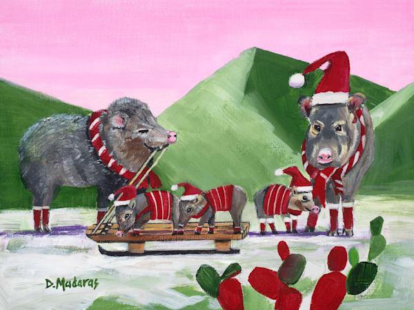 Javelina Holiday Card by Diana Madaras