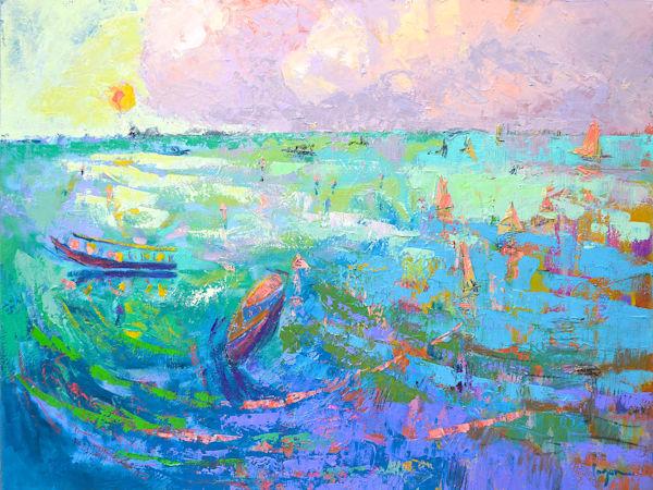 Beautiful View of Amalfi Coast, Original Oil Painting, Enchanted by Dorothy Fagan