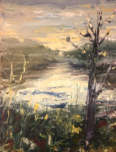 Laurel River, landscape painting by Holly Whiting