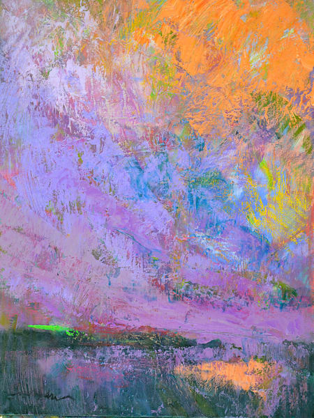Dramatic Twilight Sunset Clouds, Green Flash Oil Painting by Dorothy Fagan