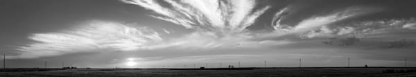 Backroads Collection - bw | Sunset, Western Kansas - bw. Black and white fine art photograph by artist and photographer, David Zlotky.