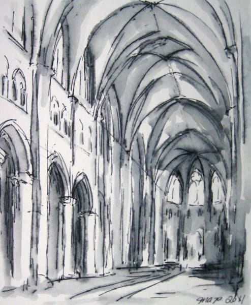 "Sens Cathedral Interior Original Drawing 5.5"" x 4.5"""