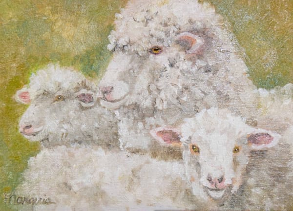 an oil painting of  a ewe with her two lambs