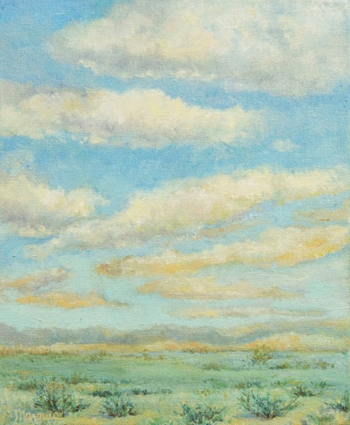 landscape painting of sage and the sky