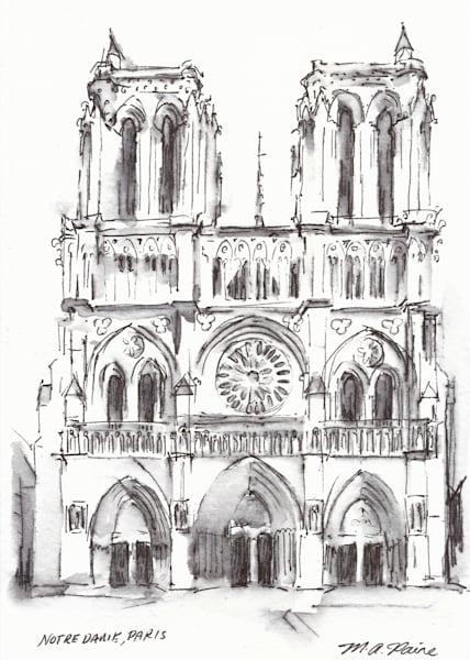 Notre Dame Cathedral Paris Original Drawing