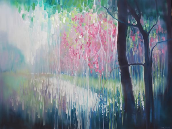 large abstract springtime inspired landscape painting with blossom, a river valley, wildflowers and deer