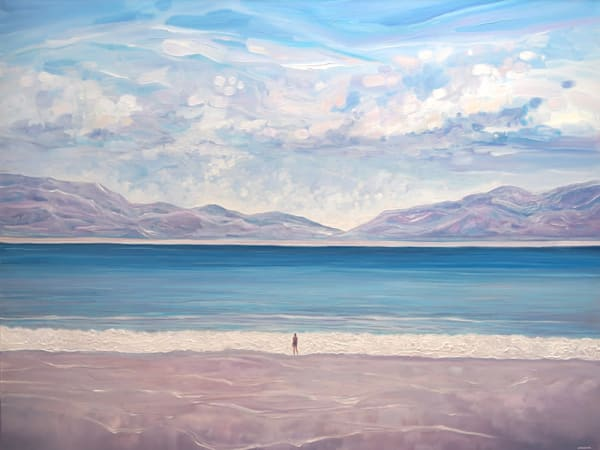large seascape painting of a blue turquoise ocean, white wave, beach and mountains