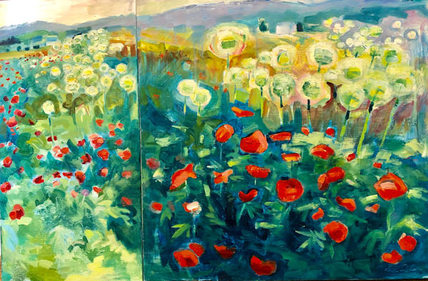 "Irresitible art luxuries! This beautiful"" Poppy Farm 2"" plein air painting is done with oil paint on wood.  I painted this at a wonderful Amish farm. Measures 24""h x 36""w  consisting of a 24""x24"" panel and a 24""x12"" panel on wood cradleboard 1.5"" de"