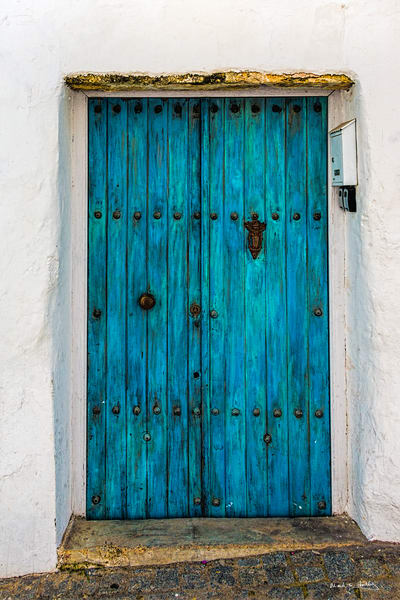old, door, spain, portugal, tourquoise