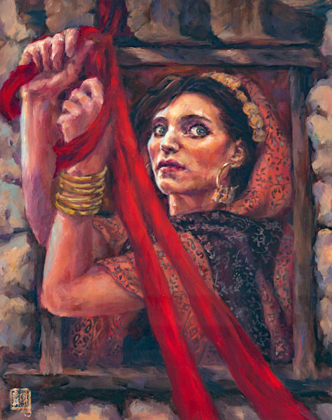 Rahab - a Life and Death dare. The story of the prostitute of Jericho and her incredible heritage. Oil on linen by Ans Taylor