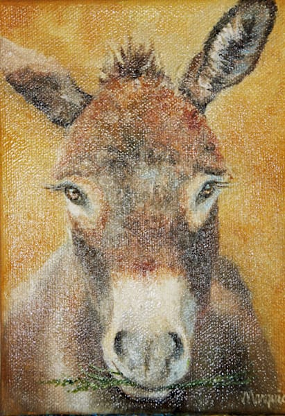 This is an original painting of a burro