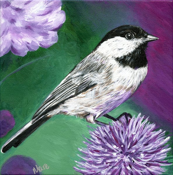 "Acrylic 8"" square portrait painting of a chickadee by artist Mary Anne Hjelmfelt."
