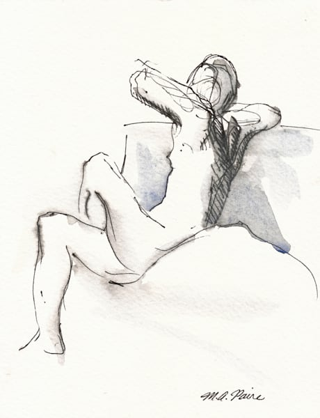 Seated Female Nude Original Drawing