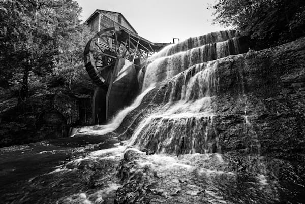 Dunn's Falls in black-and-white photography print