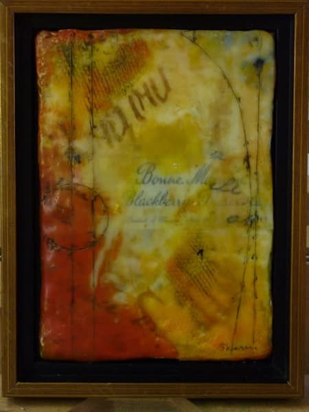 encaustic, preserves, blackberry, wax, bee