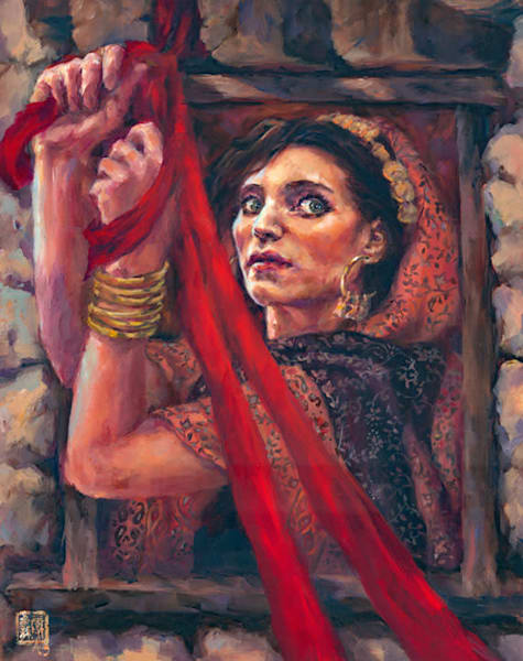 Rahab, original oil painting by Ans Taylor. Christian art