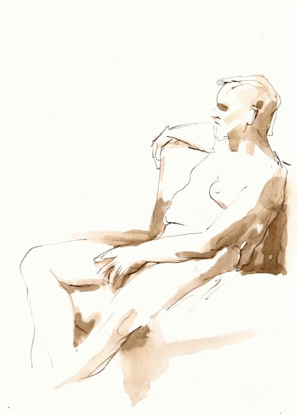 Original Seated Male Nude Drawing