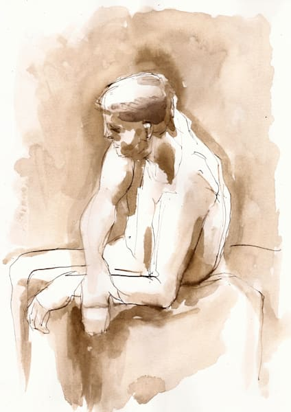 Male Figure Drawing, Original Ink on Paper