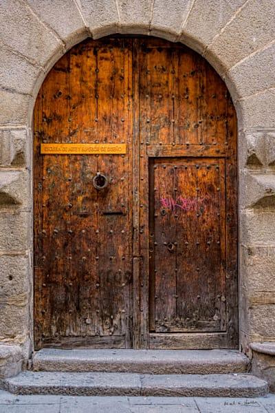 Old oak door in Segovia, Spain.