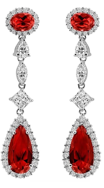 Silver Deep Crimson Regal Teardrops