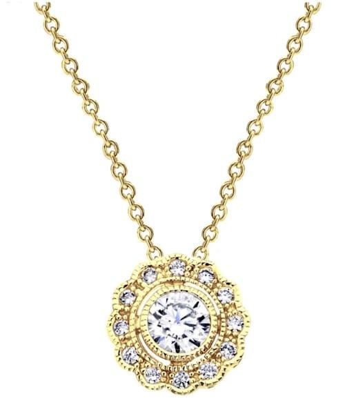 18 KGP Round Vintage Lace Necklace