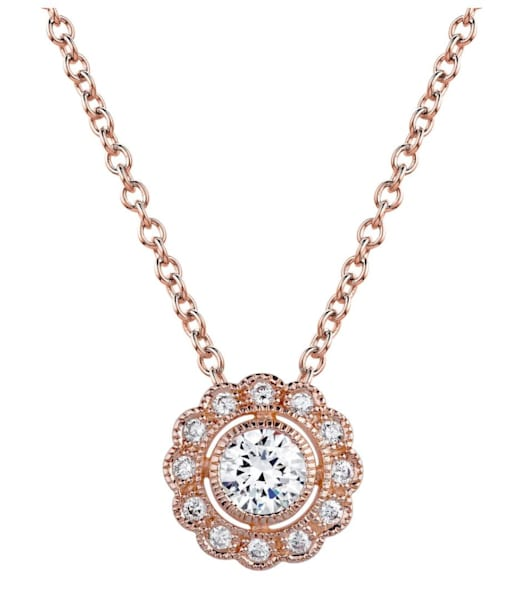 18 KGP Rose Gold Round Vintage Lace Necklace