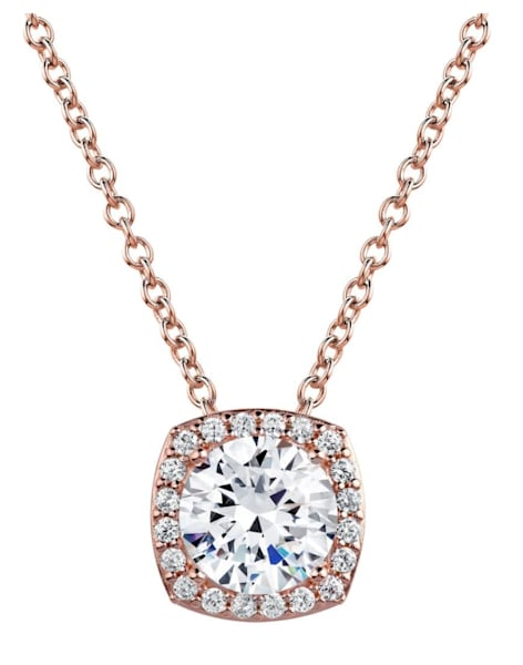 18 KGP Rose Gold 3 Carat Cushion Cut Floating Necklace with Halo