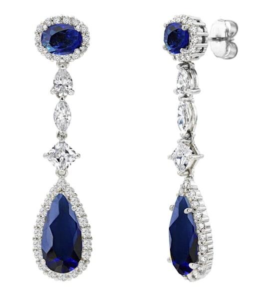 Silver Sapphire Hued Regal Teardrops