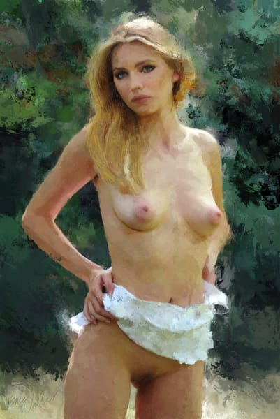 "Digital painting ""Nude Outdoors"" by Eric Wallis."
