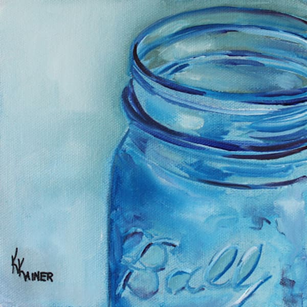 Blue Ball Jar Art | Kristine Kainer