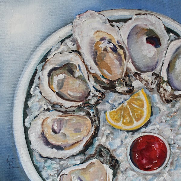 Afternoon Oysters Painting and Coastal Art by Kristine Kainer