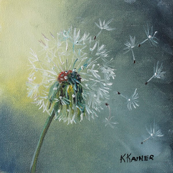 Dandelion Painting and Wildflower Art by Kristine Kainer