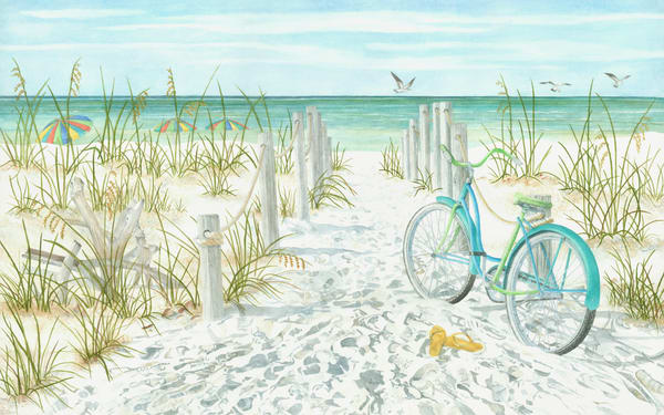 A print from a watercolor painting by artist Sandra Galloway of a bicycle on a pathway to the beach with colorful umbrellas. Printed on gallery-wrapped canvas