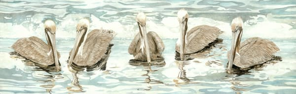 A watercolor print on gallery wrapped canvas by Sandra Galloway of a five Brown Pelicans relaxing on warm tropical waters.