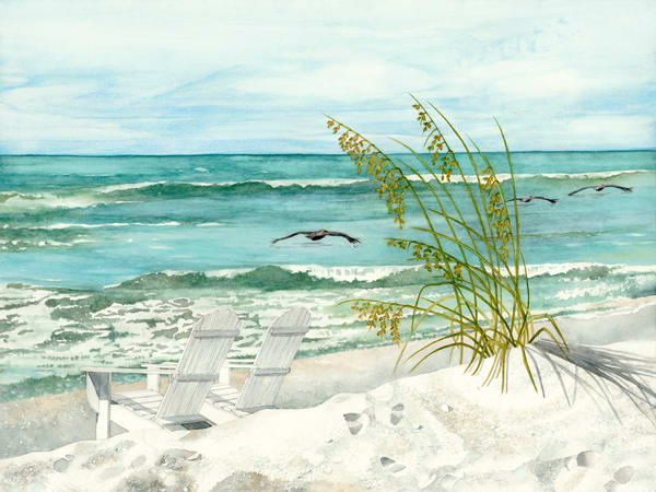 A print on stretched canvas by watercolor artist Sandra Galloway of traditional Adirondack chairs on the beach with three pelicans enjoying the wind.