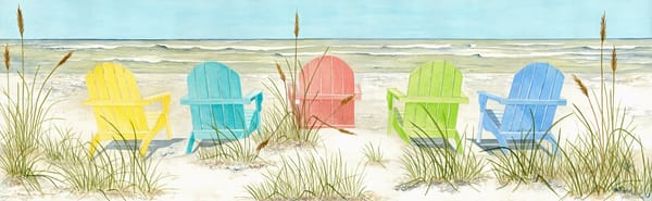 A  print on stretched canvas of five brightly-colored Adirondack chairs on the beach.  Watercolor by artist Sandra Galloway