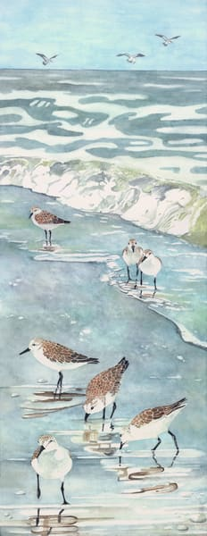 A print on stretched canvas of seven Sandpipers walking along the beach.   Painting by watercolor artist Sandra Galloway.