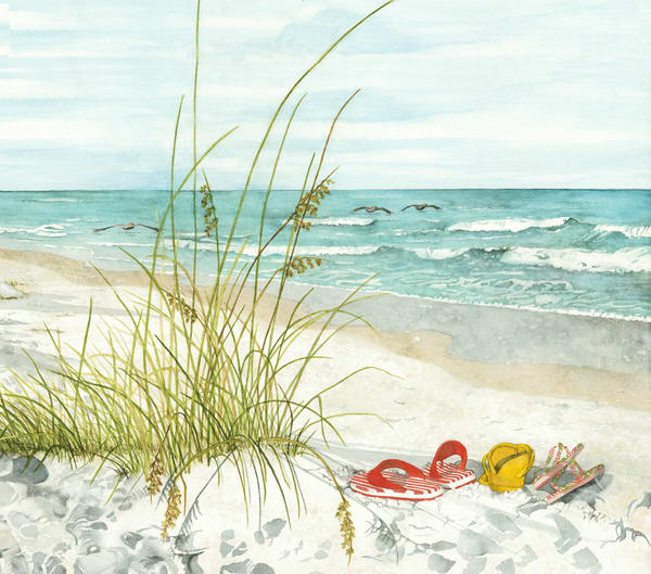 Print from a watercolor painting by Sandra Galloway of colorful flip flops on the beach with pelicans floating on the water. Printed on stretched canvas.