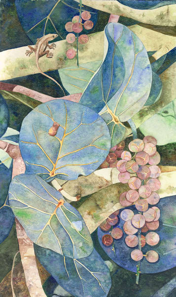 A print on stretched canvas of Blue-colored Sea Grapes with a lizard sunning on a branch.  Work by watercolor artist Sandra Galloway