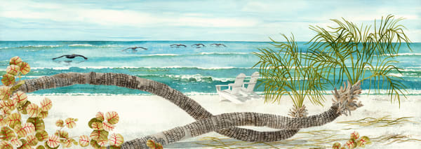 A print on stretched canvas of the beach on Useppa Island, Florida.  Painting by watercolor artist Sandra Galloway
