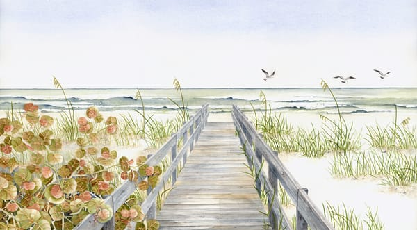 A print on stretched canvas by watercolor artist Sandra Galloway of the beach and boardwalk at Wiggins Pass, Florida