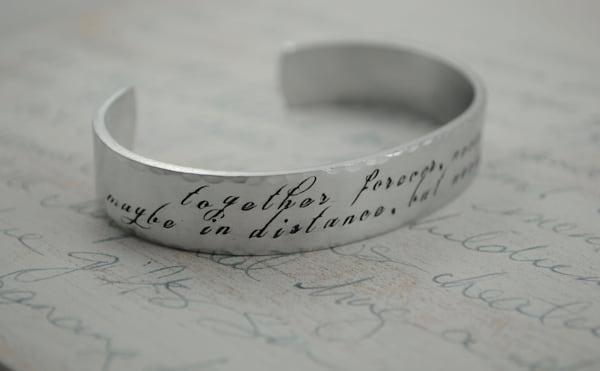 Together Forever, Never Apart, Sterling Keepsake cuff bracelet by Kelly Berkey