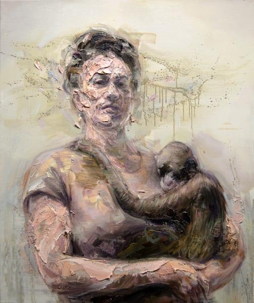 Frida With Monkey (Oil On Print) Art | Mathieu Laca