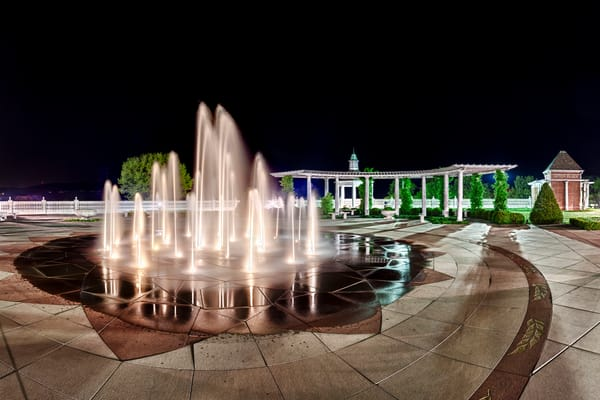 Anton Plaza Fountain Night - Culinary Institute of America - Hyde Park - NY