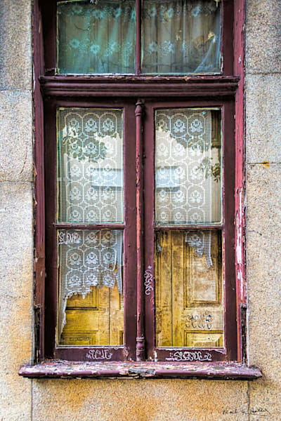 porto, portugal, window, old, tattered, curtain, europe
