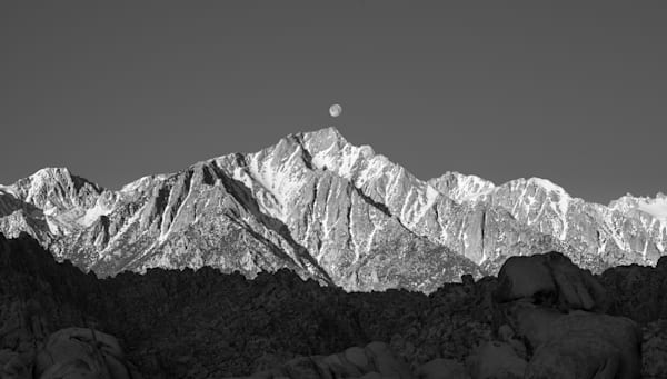 Lone Pine Peak Sunrise Moonset  I Eastern Sierra Landscape Photography I David N. Braun