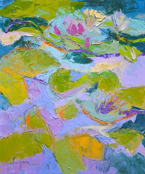 Abstract Water Lily Painting Canvas Print by Dorothy Fagan