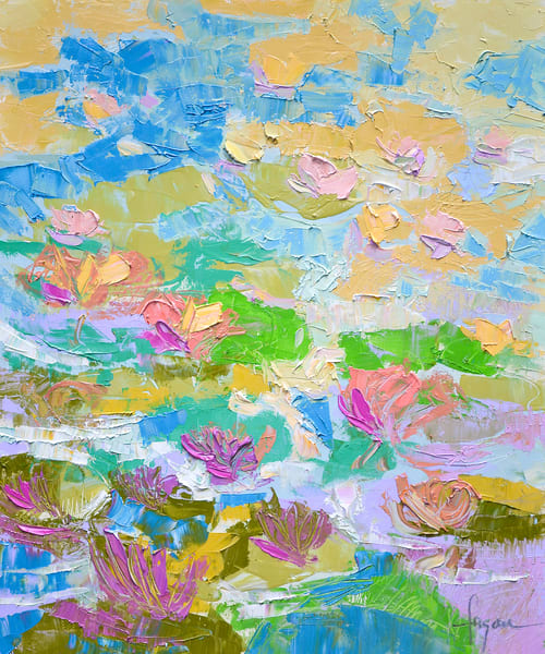 Magenta Water Lily Painting, Canvas Print by Dorothy Fagan