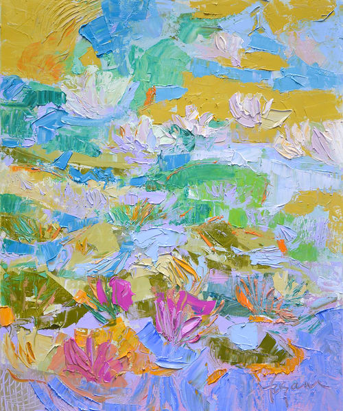 Pink Water Lilies Painting, Canvas Print by Dorothy Fagan